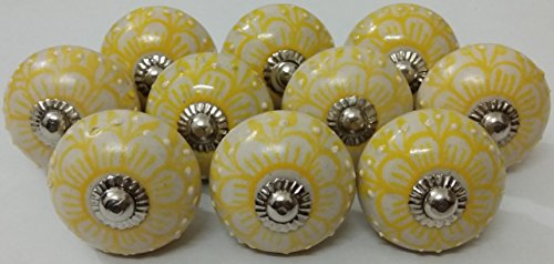 - 10 Flower Design Ceramic Knobs Handmade Handpainted Ceramic Door Knobs Kitchen Cabinet Drawer Pulls Kid's Bedroom Knobs by Zoya's Lots of 10 Knobs (Yellow)