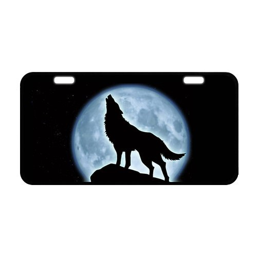 Howling Wolf Plate - Classic Howling Wolf At full Moon Metal License Plate Frame 11.8