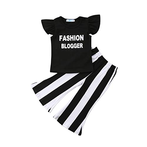 Toddler Kids Baby Girl Summer Outfit Sleeveless Shirts+Stripes Bell-Bottom Jumpsuit Pants Outfit (12-18 Months, Black) ()