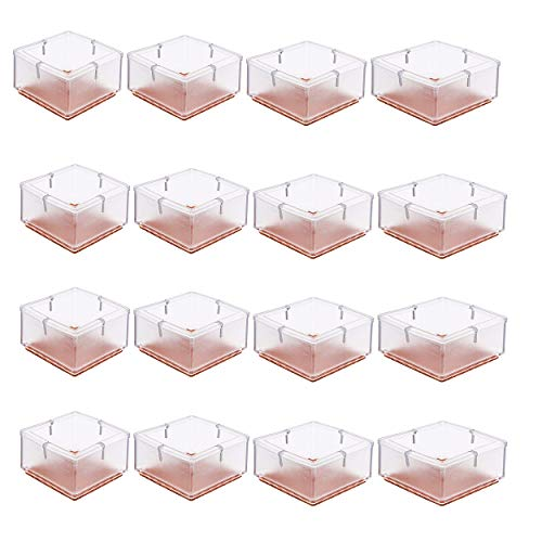 TEKEFT 16 Pack Large Chair Leg Wood Floor Protectors, Chair Feet Glides Furniture Carpet Saver, Silicone Caps with Felt Pads Square 1-15/16 to 2-1/8 (4.9cm-5.3cm)