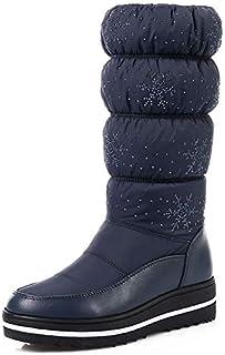 BNXXINGMU Stivali da Neve Invernali Stivali da Donna con Tacco Arrotondato Stivali Casual con Tacco Alto Blu 10.5 541322419