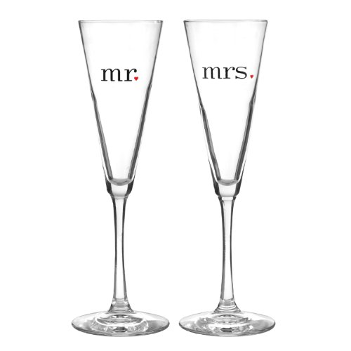 Hortense B. Hewitt Wedding Accessories Together at Last Mr. and Mrs. Champagne Toasting Flutes, Set of 2