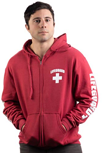 (Lifeguard | Zip Fleece Hoody Sweatshirt Hoodie Sweater Unisex Uniform Men Women - Zip,L Red )