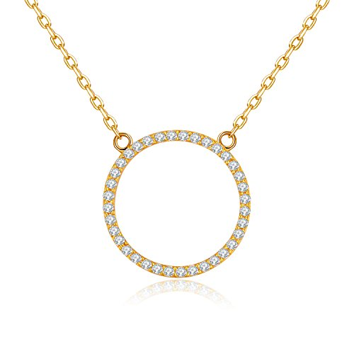 (MetJakt 925 Sterling Silver Adjustable Chain Hollow Out Circle Pendant Necklace with AAA+ Cubic Zirconia for Women Gorgeous Jewelry 16,17,18'' (Yellow Gold Plated Sterling Silver))