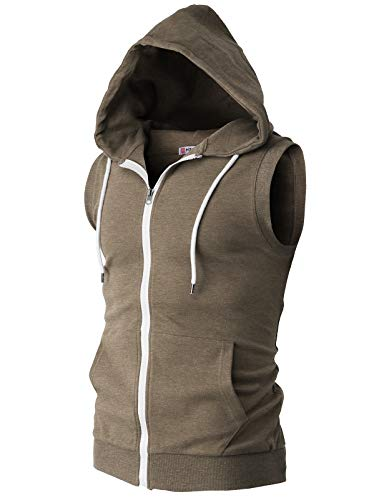 (H2H Men Casual Sleeveless Sports Lightweight Zip Up Hoodies Vest HEATHERBROWN US L/Asia XL (CMOHOSL08))