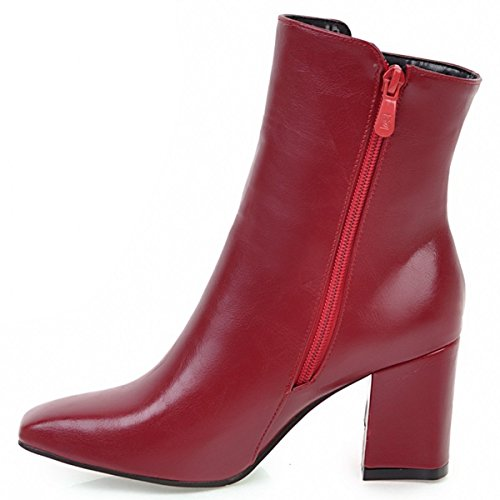 Boots Block Womens Booties Zip Ankle Square Classic Red Party Heels Chunky Side Rongzhi Toe Simple qxEBaIwad