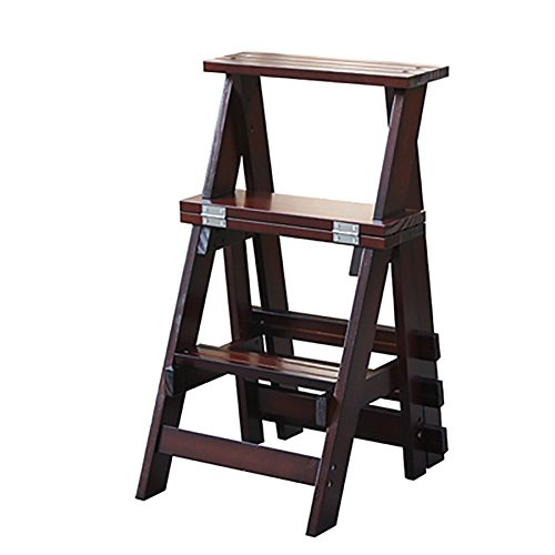 Multifunction Solid Wood Three-layer Ladder Dual-use Backrest Chair Household Stool Indoor Wooden Ladder Stair Chair (Color : Black walnut) (Walnut Game Table Set)