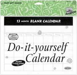 Blank Pages Calendar - Do It Yourself Blank Calendar- 13 Months