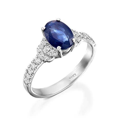 1 carat Blue Sapphire Diamond Engagement Ring -White Gold Ring-Sapphire Engagement Ring -Anniversary present-promised ring-blue stone-Sapphire ring-art deco diamond ring