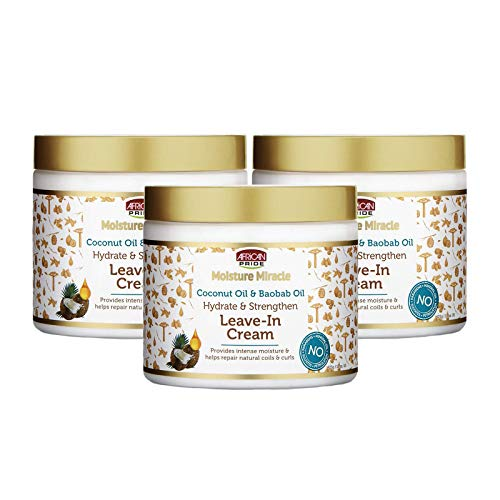 African Pride Moisture Miracle Coconut Oil & Baobab Oil Leave-In Cream (3 Pack) - Provides Intense Moisture & Helps Repair Natural Coils & Curls, Hydrates & Strengthens, 15 oz