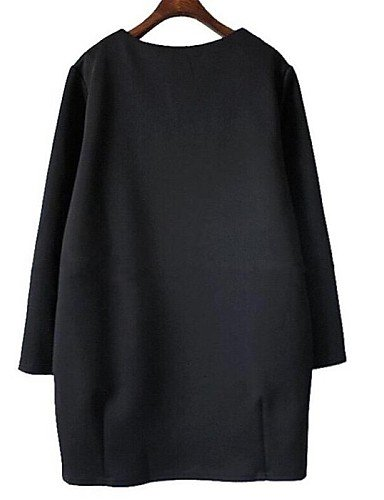 PU&PU Robe Aux femmes Grandes Tailles Grandes Tailles / Décontracté Au dessus du genou Mélanges de Coton , black-m , black-m