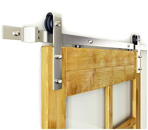 DIYHD 8FT Brushed Nickel Sliding Barn Door Hardware Interior Steel Barn Wood Door Sliding Track Kit