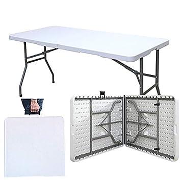 sogesfurniture Table Pliable180cm - Table Pliante pour  Intérieure/Extérieure/ - Table de Jardin Camping Traiteur Buffet Picnic  Blanc en ...
