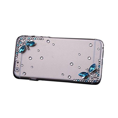 TOOGOO (R) Luxus Freier Transparenter Kristall Strass Diamant Libelle Case Harte Rueckseitige Abdeckung Schutzhuelle fuer Apple iPhone 6 - Libelle