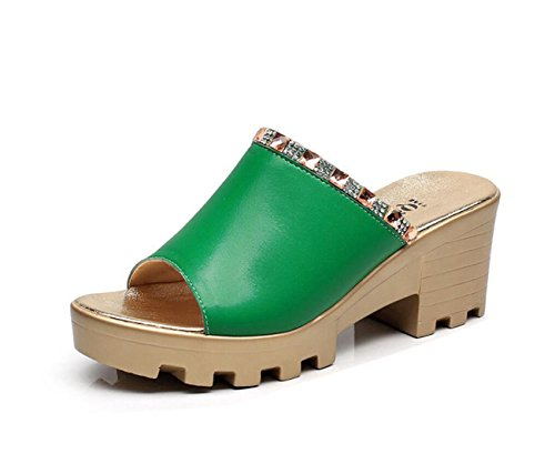 Pour En Vert Confort Taille Dandanjie Sandales D'été Cuir Noir 43 33 Wedge Femmes Green Rouge Peep Blanc Chaussures Talon Casual Toe wqaPPAfS