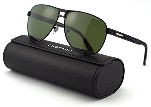Woman Frames Chopard (Chopard SCH B80 Unisex Aviator Metal Sunglasses (Shiny Matte Black Frame/Green Black Mirror Polarized 531P))
