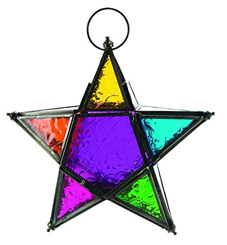(4Rissa Rainbow Star Moroccan Style Hanging Lantern Glass & Metal Candle Holder Wedding Party Decor )
