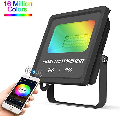 LED Flood Light 24W, Outdoor Color Changing Landscape Lighting, RGBCW 5 in 1 Bluetooth Mesh and APP Control Smart Floodlights 2700K-6500K, 16 Million Colors Timing Music Sync, IP66 Waterproof