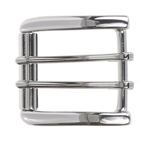MONIQUE Men Nickel Free Center Bar Double Prong Square 1.5'' Belt Roller Buckle,Silver One ()