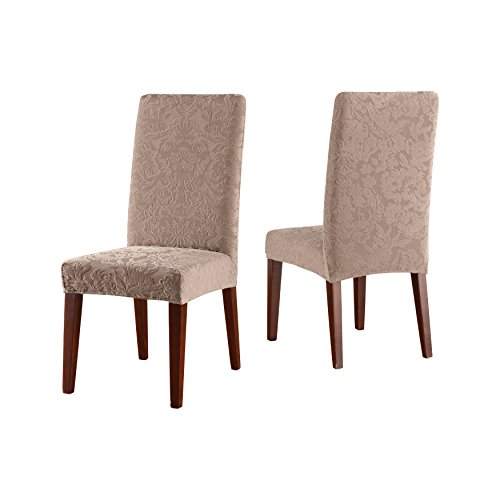 SureFit Stretch Jacquard Damask - Shorty Dining Room Chair Slipcover  - Mushroom
