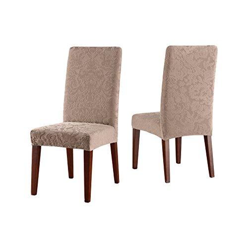 SureFit Stretch Jacquard Damask - Shorty Dining Room Chair Slipcover - Mushroom