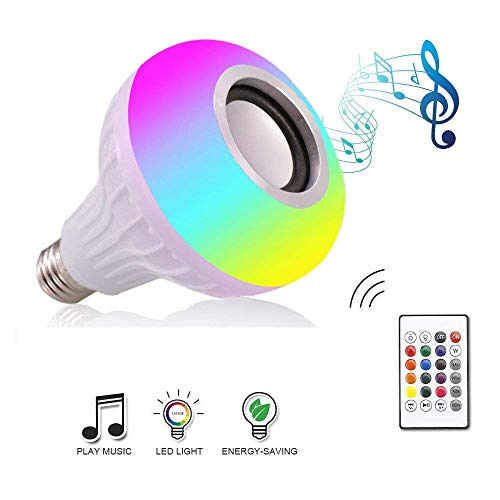 Anferstore 12W White LED Music Light Bulb with Bluetooth Speaker E27 RGB Changing Color Built-in Audio Speaker Lamp with Remote Control for Home, Bedroom, Living Room, Party Decoration