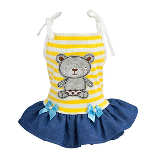 LVYING Pet Spring Summer Stripes Sling Skirt Dogs Sleeveless Dress Printed Bear for Small Chihuahua Pug Yorkie