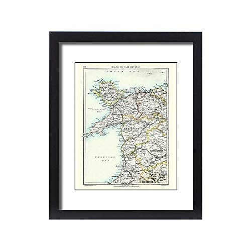 Media Storehouse Framed 20x16 Print of Antique map, North Wales, Anglesey, Carnarvon, 19th Century (15231371)