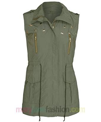 349e4840f7cec Womens Gold Star Stud Sleeveless Military Cargo Gilet Jacket Khaki Green 8  10 12  Amazon.co.uk  Clothing