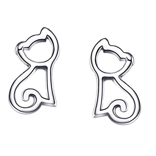 Hollow Out Cat Earrings for Girls Hypoallergenic Sterling Silver Jewelry Perfect Gift Her Teenage Girls Studs Cute Kitten Kitty Animal Earrings Mother's Day Gifts Women Girlfriend - Kitten Charm Silver Sterling