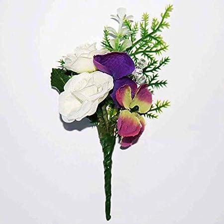 Amazon De Allegra Personalisierte Hand Made Weiss Rosen Lila Grun