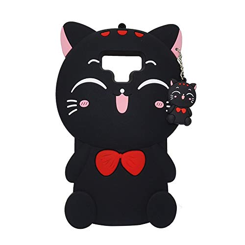 Galaxy Note 9 Case Soft Silicone Cute Cartoon Lovely Fashion Cover for Samsung Galaxy Note 9 Cool Cases for Kids Boys Girls (Black Lucky Cat)