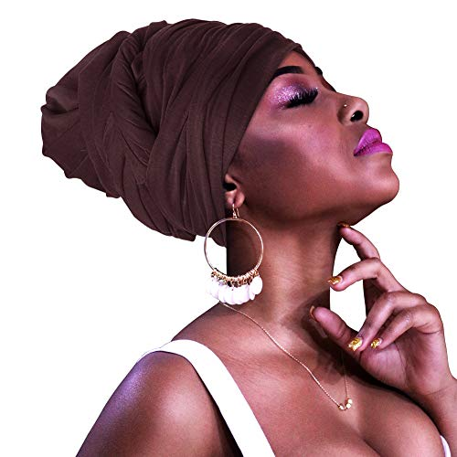 Solid Color Turbans Jersey Knit Head Wrap Stretch Long Hair Scarf Tie (Brown)