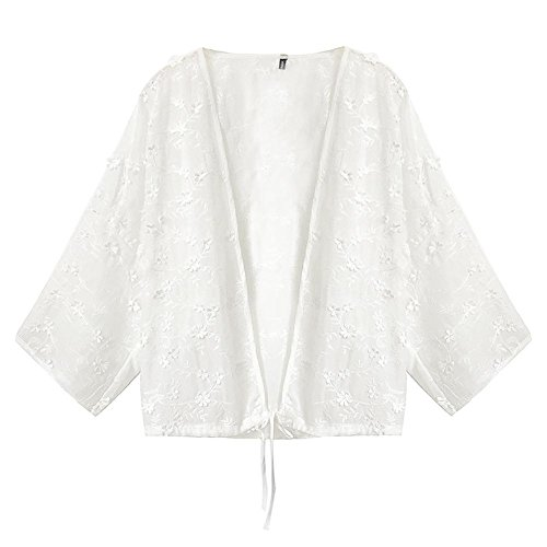 (ワンース) Wansi カーディガン レディース 羽織 九分袖 夏 立体 刺繍 フラワー 清新 きれいめ 涼しい ゆったり レジャー 遊び