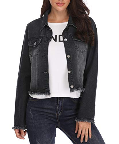 MISS MOLY Jean Jackets Women's Button up Turn Down Collar Frayed Denim Washed Crop Jacket w 2 Chest Flap Pockets ((6) Small, (Black Denim Crop)