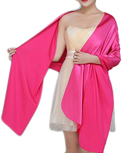 Alivila.Y Fashion Womens Satin Soft Long Wrap Scarf Shawl-Hot Pink Satin