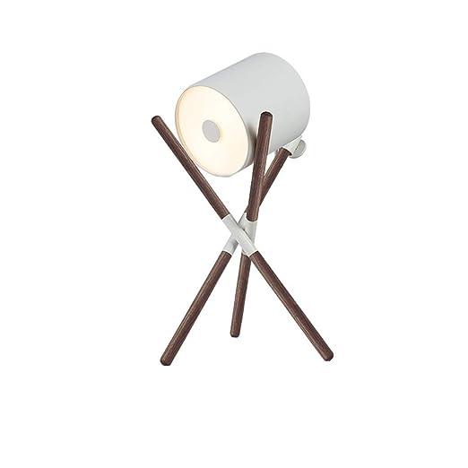 Lampara de mesa Lámpara de mesa LED de madera maciza Decoración de ...