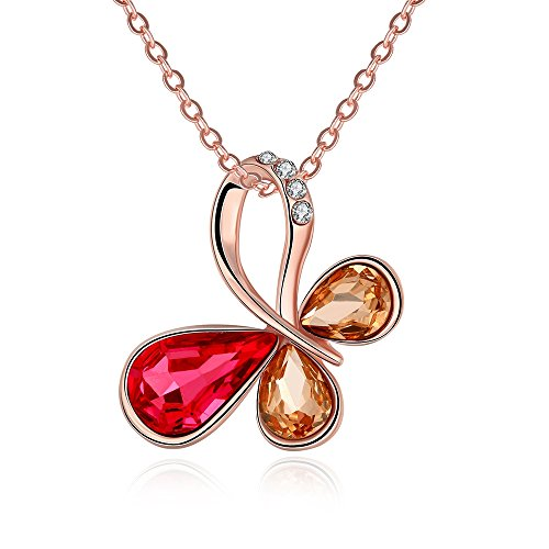Pan Am Costume (SDLM Filigree Clover Shining Cubic Zirconia CZ Necklace Rose Gold Love Pendant)