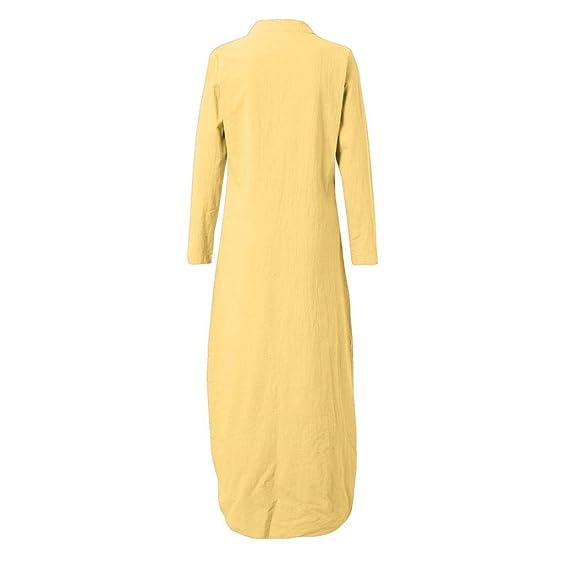 ABsolute Vestido Vestido de Manga Larga para Mujer, Largo Estampado con Cuello en V Vestido Largo Dobladillo con Estampado Kaftan: Amazon.es: Ropa y ...
