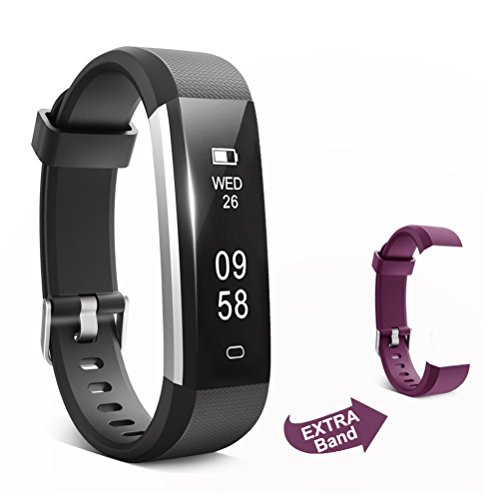 Cheap ForEverFit Fitness Tracker Waterproof Activity Tracker Sleep Monitor Pedometer Step Counter Smart Watch Bracelet Bluetooth Wristband for Kids Women Men Extra Replacement Band (Black with Purple)