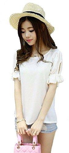【Bahagia】シンプルなのにしっかり可愛い【リボンスリーブカットソー】レディース半袖トップスシャツ選べる4カラー4サイズ(M,ホワイト)