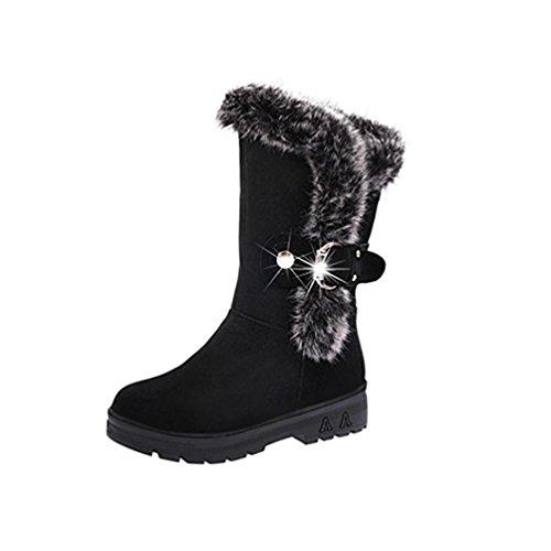 Zapato Rebaño Negro Sintética 38 Bota Lluvia Suave Mujer Botas Mujer Invierno Para Pie Botines Invierno Nieve Forrada koly Piel Tobillo Botas Piel Redondo Plano Nieve Ponerse del Dedo Clásico fqBn1xz0