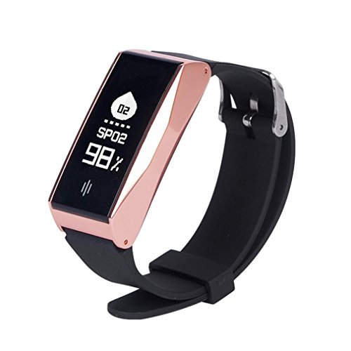 Rumas BL86 Smart Sports Watch with Heart Rate, USB Smart Bracelet with Camera, Pedometer for Gym Running, Sleep Minitor for Babies (Rose Gold) by Rumas