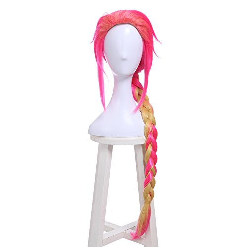ROLECOS Mens Uno Cosplay Wigs Long Braided Synthetic Wig Pink Fade Blonde