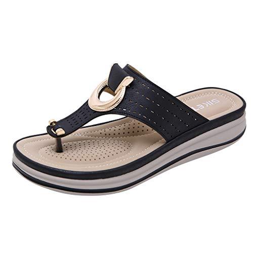 Newlyblouw 2019 New Women Casual BohemiaWedges Sandals Ladies Summer Fashion Metal Beach Flops Flip Slipper Shoes Black