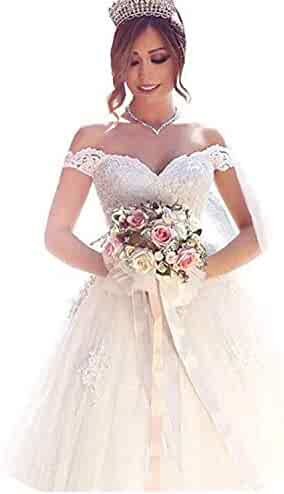 76109173455 Yuxin Elegant Sweetheart Lace Ball Gown Wedding Dresses 2018 Off Shoulder  Princess Bridal Gowns