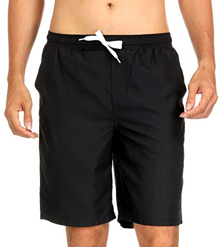 (ATTRACO Men's Beach Board Shorts Quick Dry Swimming Trunks Bathing Suit with Pocket 32 Black)