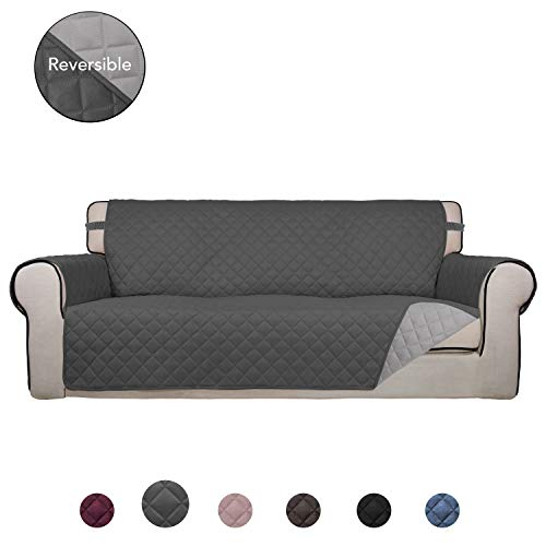 PureFit Reversible Quilted Sofa Cover, Water Resistant Slipcover Furniture Protector, Washable Couch Cover with Anti-Slip Foam and Elastic Straps for Kids, Dogs, Pets (Sofa, Gray/LightGray)