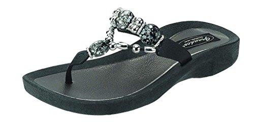 Grandco Womens Expression Thong Black Sandal 8 M US ()