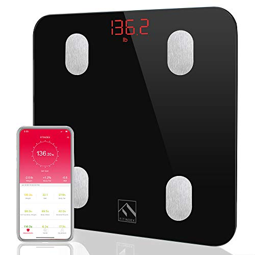 - Bluetooth Body Fat Scale, FITINDEX Smart Wireless Digital Bathroom Weight Scale Body Composition Monitor Health Analyzer with Smartphone App for Body Weight, Fat, Water, BMI, BMR, Muscle Mass